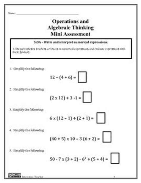 5 Oa 1 Worksheets by Operations And Algebraic Thinking Assessments Grade 5 Oa 1 2