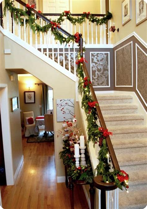how to decorate banister with garland 40 festive christmas banister decorations ideas all