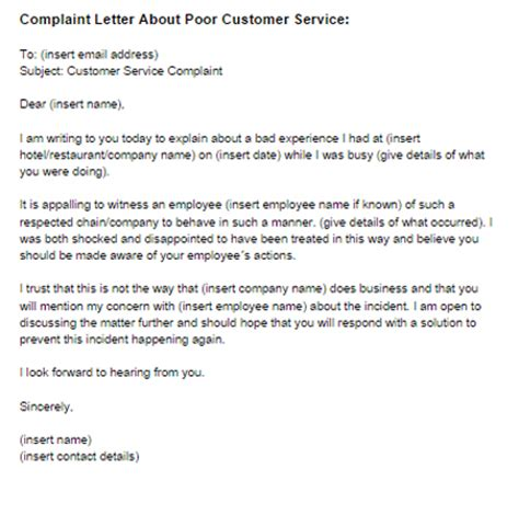 Poor Service Letter Template Writing Service Complaint Letters Ssays For Sale