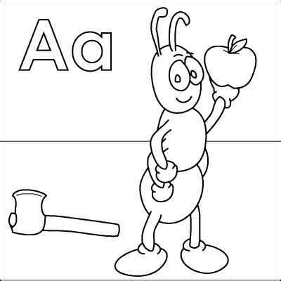 letter  coloring page ant axe apple  httpwww