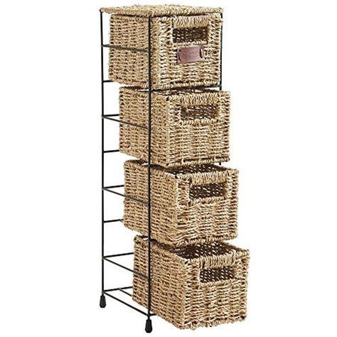 tier bathroom storage tower vonhaus 4 tier small seagrass basket storage tower unit