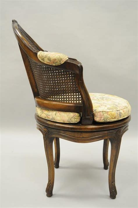 French Country Louis Xv Style Swivel Vanity Chair Cane Swivel Vanity Chair With Back