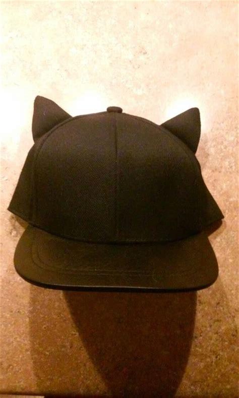 black leather cat ear baseball hat