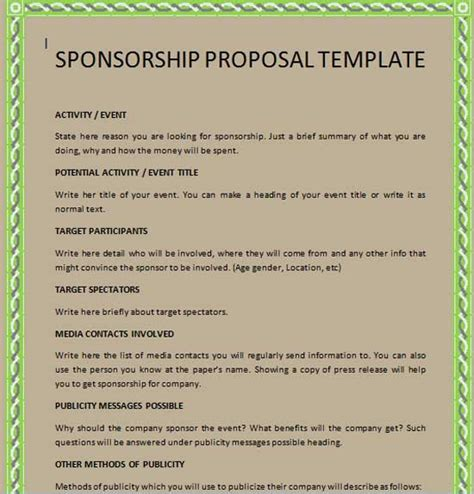 sponsorship package template free sponsorship template