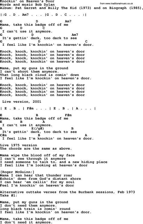 Bob Dylan song, lyrics with chords - Knockin' on Heaven's