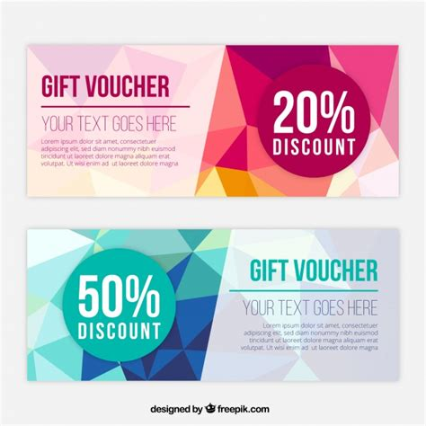 fantastic gift vouchers with polygonal shapes vector