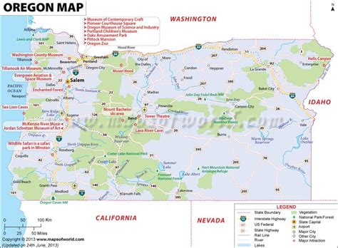 map of oregon airports oregon map showing the major travel attractions including