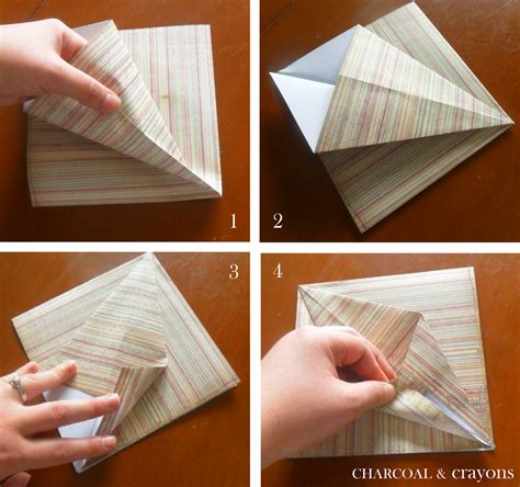 How To Make Paper Charcoal - charcoal and crayons folding a paper