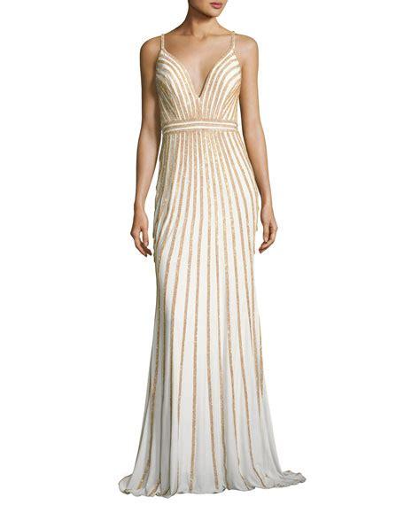 Sleeveless Evening Gown jovani sleeveless beaded evening gown white gold neiman