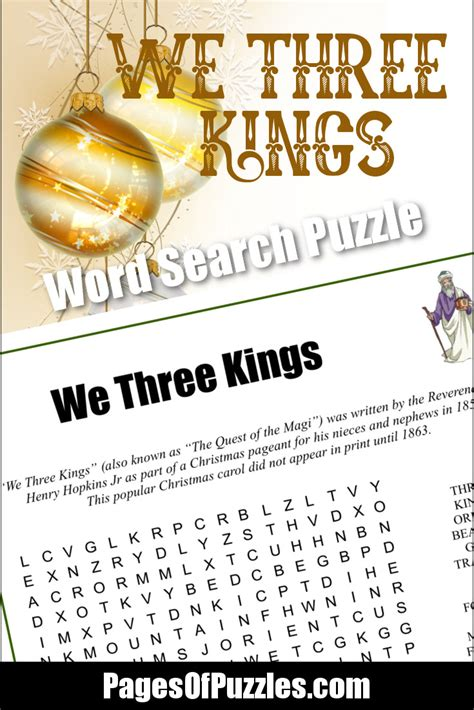 printable lyrics database we three kings word search pages of puzzles
