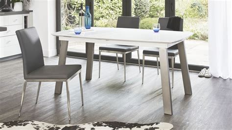 extending white and grey gloss dining table uk