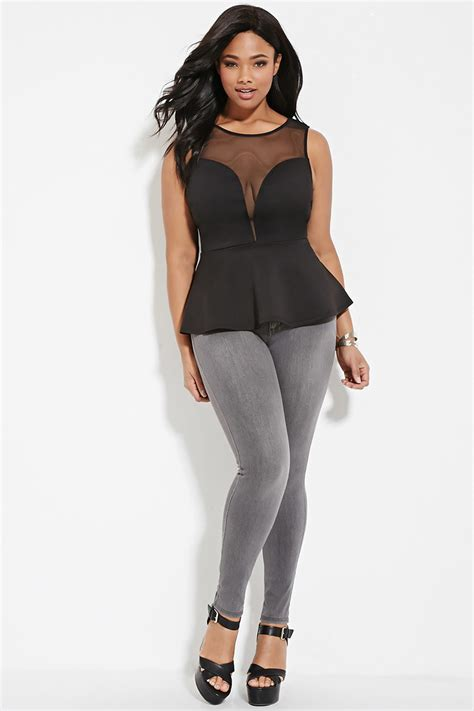 Black Mesh Top Big Size forever 21 plus size mesh paneled peplum top you ve been added to the waitlist in black lyst