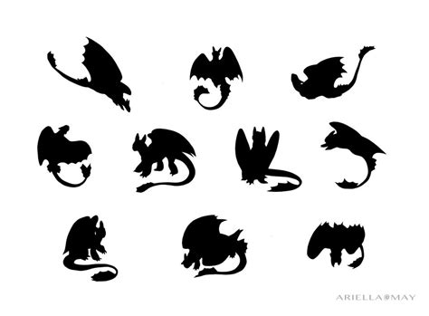 toothless silhouettes by ariellamay on deviantart