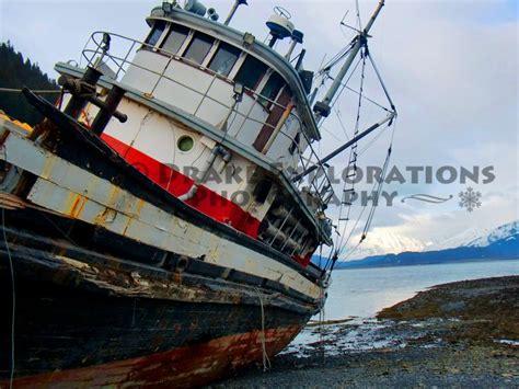 alaska ocean fishing boat seward alaska old fishing boat ocean ice cold clouds