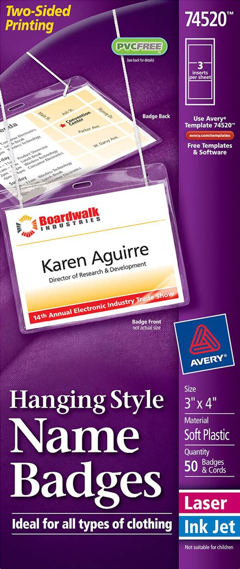 avery template 74520 avery 174 hanging name badges top loading 74520 avery