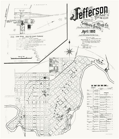 map of jefferson texas historic city maps jefferson texas tx by sanborn perris 1890