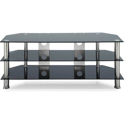 3 Tier Glass Entertainment Unit TV Stand in Black   Buy