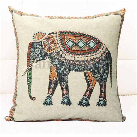 Elephant Linen Pillow Pillow Cover indian knitted elephant cotton linen throw pillow