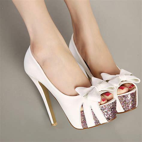 white high heels with bow fashion peep toe bow tie designed platform stiletto