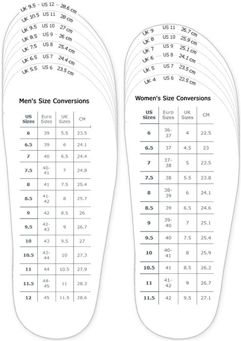 shoe sizing printable