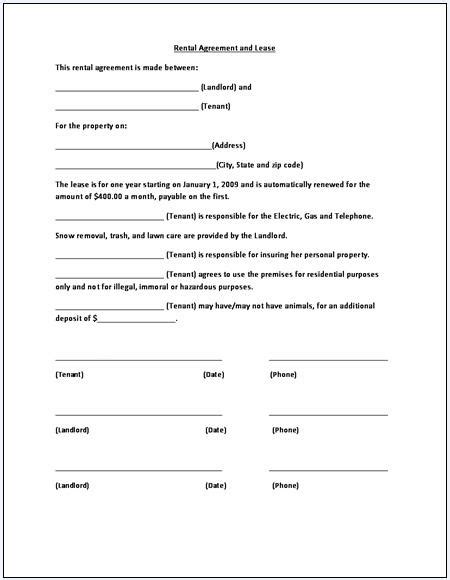 template of a lease agreement for a tenant rental agreement template free printable documents
