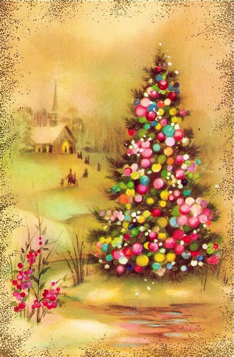 the brst chriss tree and litlle church 1819 best vintage graphics images on