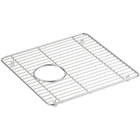 Kitchen Sink Basin Racks Kohler Cairn 13 75 In X 14 In Stainless Steel Kitchen Sink Basin Rack K 5656 St The Home Depot