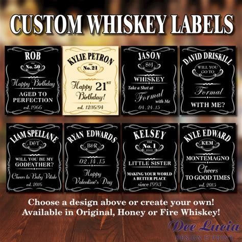 custom whiskey bottle labels for any occasion