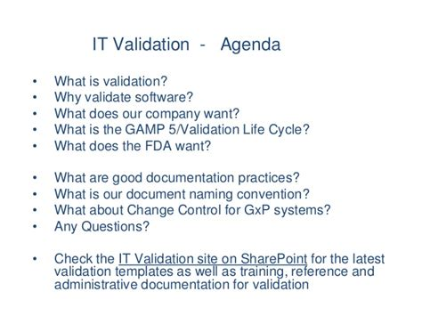 It Validation Training Fda Software Validation Templates