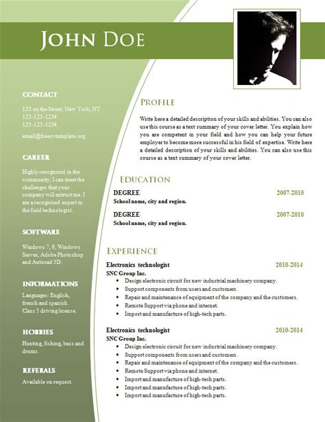 Cv Templates For Word Doc 632 638 Free Cv Template Dot Org Really Free Resume Templates
