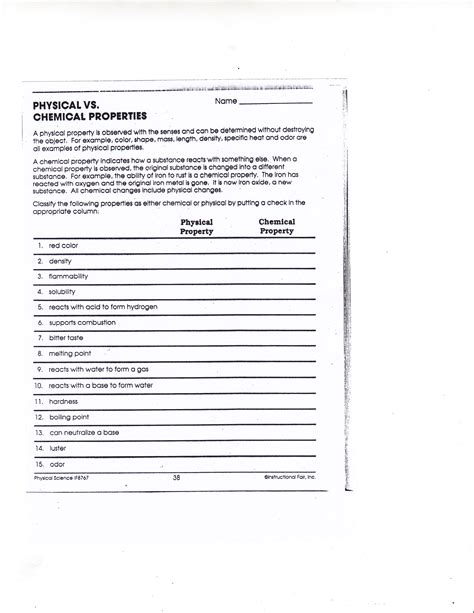 Chemical And Physical Properties Worksheet Answers by Physical Vs Chemical Properties Worksheet Lesupercoin