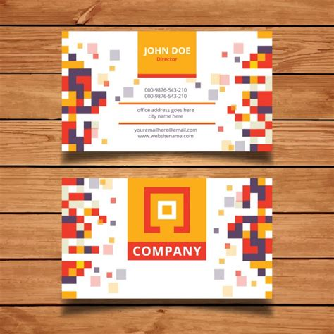 pixel card template pixel mosaic business card template vector free