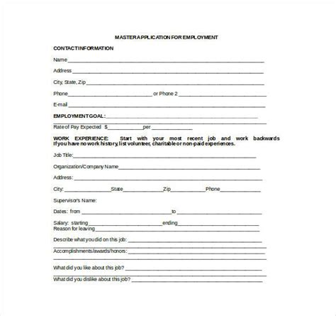 application template word employment application template 21 exles in pdf