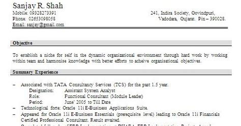 Mba Finance Fresher In Gujarat by Word Document Resume