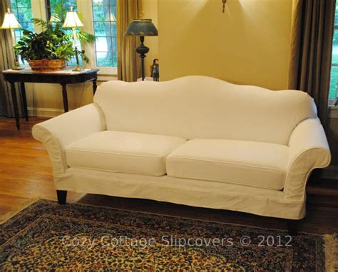 A Slipcover by Cozy Cottage Slipcovers Camel Back Sofa