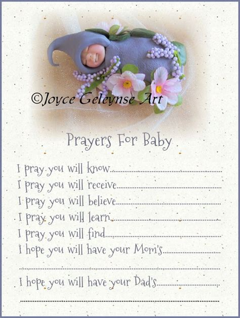 Opening Prayer For Baby Shower by Items Similar To Prayers For Baby Printable Card