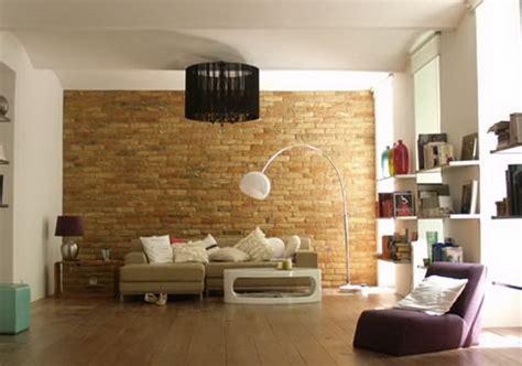 wohnzimmer ziegelwand kreative wandgestaltung wohnzimmer