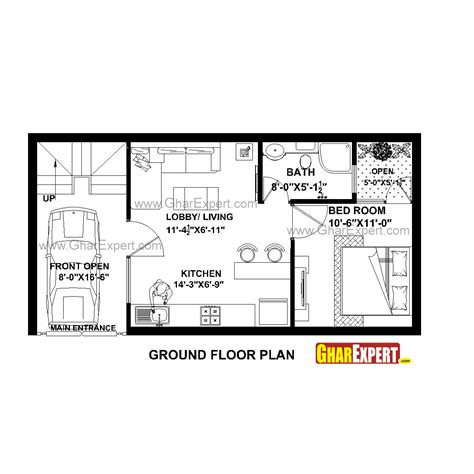 18 square feet house plan for 35 feet by 18 feet plot plot size 70 square yards gharexpert com