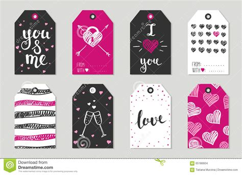 valentine s day gift tags set stickers and labels stock