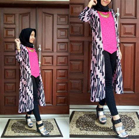 Cardigan Panjang Batik Sogan Outer Batik Termurah 12 contoh model baju batik muslim atasan untuk wanita modern