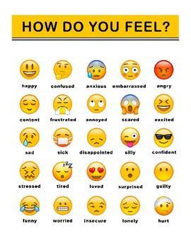 emoji recognition chart emoji feelings chart by evonne hairston teachers pay