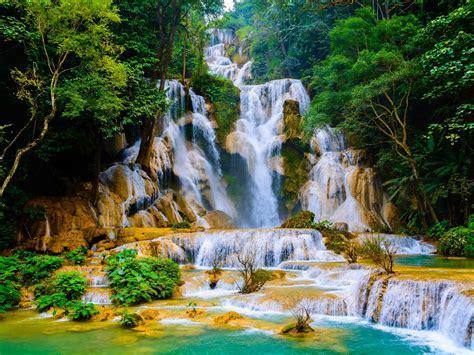 kuang  falls cascading waterfall  laos   wat