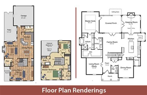 floor plan renderings watercolor house plans home mansion