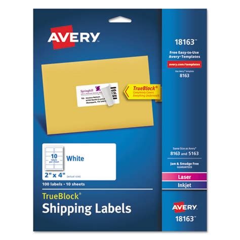 superwarehouse shipping labels with trueblock technology