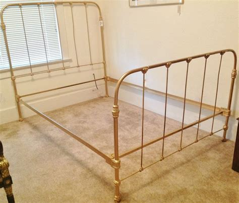 C 1920 Antique Cast Iron Gold Painted Full Bed Frame Ebay Gold Metal Bed Frame