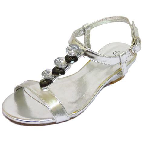 childrens silver t bar wedge sandals