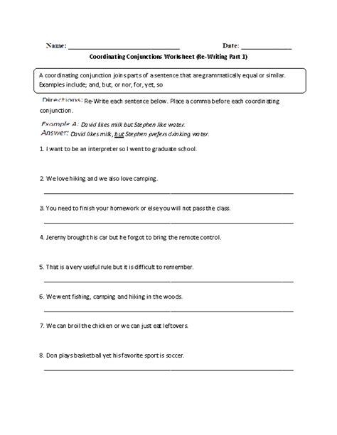 Fanboys Worksheet by Fanboys Worksheet Worksheets Releaseboard Free Printable