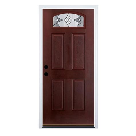 exterior doors shop therma tru benchmark doors delano 4 panel insulating core morelight right hand inswing dark