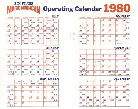 1980 Calendar Year Vintage Disneyland Tickets Magic Mountain Complimentary