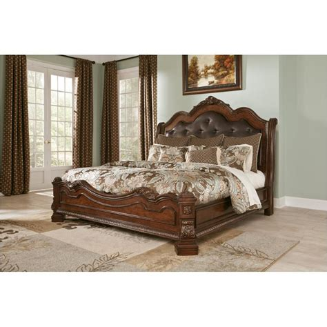 ledelle california king poster bed with tall headboard b705 56 ashley furniture king california king sleigh footboard